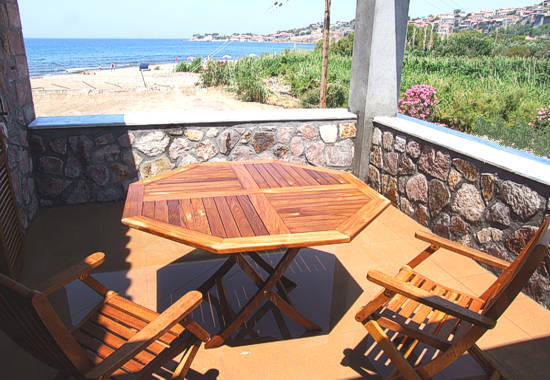 Balcony with stunning views of Molivos and the Aegean Sea